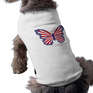 Patriotic Red White And Blue Butterfly Dog Shirt