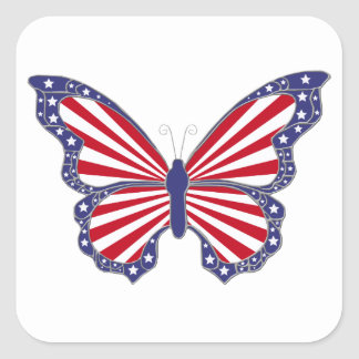 Patriotic Red White And Blue Butterfly Stickers