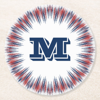 Patriotic Red White and Blue Fireworks Monogram Round Paper Coaster