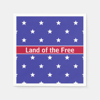 Patriotic Red White and Blue Paper Napkins