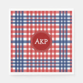Patriotic Red White and Blue Plaid Custom Disposable Napkin