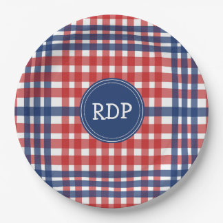 Patriotic Red White and Blue Plaid Custom Paper Plate
