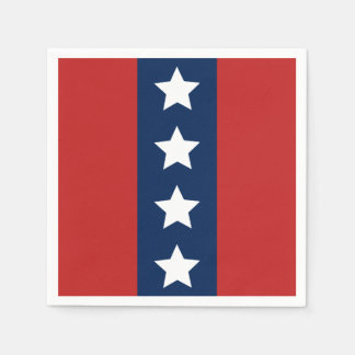 Patriotic Red White and Blue Stars and Stripes Paper Napkins