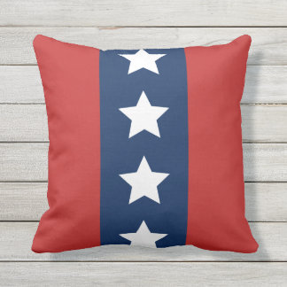 Patriotic Red White and Blue Stars and Stripes Throw Pillow