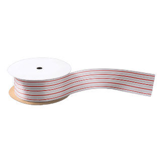 Patriotic Red White and Blue Stripes Pattern Satin Ribbon