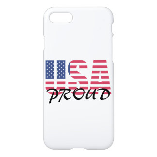 Patriotic Red, White and Blue USA Proud Sign iPhone 7 Case