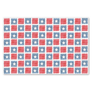Patriotic Red White and Blue Watercolor Tissue Paper
