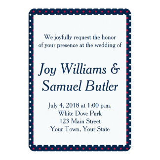 Patriotic Red, White and Blue Wedding Invitation