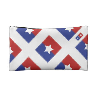 Patriotic Red White Blue American Unity Star Makeup Bag