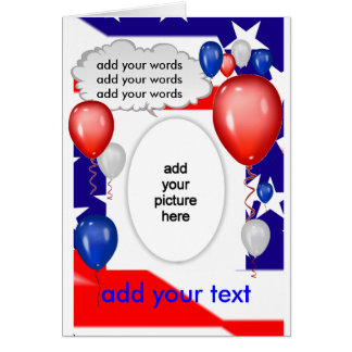 Patriotic Red White & Blue Card