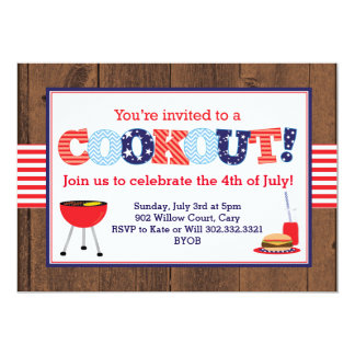 Patriotic Red, White & Blue Cookout Card