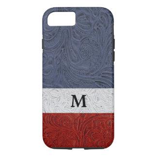 "Patriotic Red White Blue Cowboy ""Leather"" Monogram iPhone 7 Case"