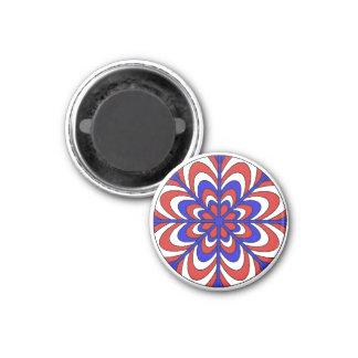 Patriotic Red White Blue Flower Magnet