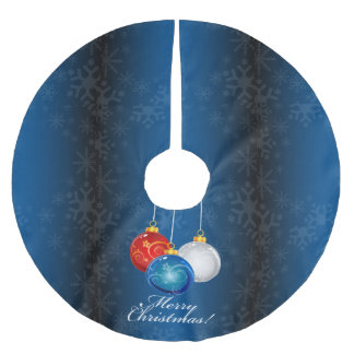 Patriotic Red White Blue Ornaments Merry Christmas Brushed Polyester Tree Skirt