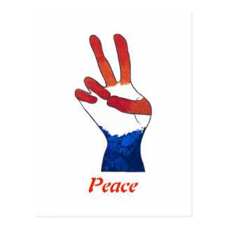 Patriotic Red White Blue Peace Sign Hand Postcards