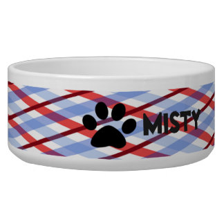 Patriotic Red, WHite & Blue Personalized Dog Bowl