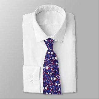 Patriotic Red White Blue Print Tie