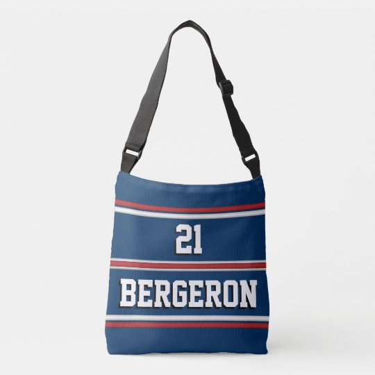 Patriotic Red White Blue Sports Jersey Stripes Crossbody Bag