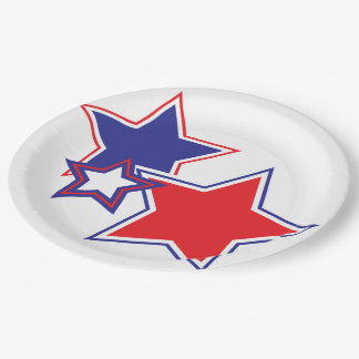 Patriotic Red White Blue Stars 9 Inch Paper Plate