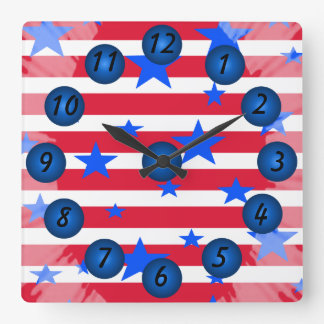 Patriotic Red White Blue Stars and Stripes Clock