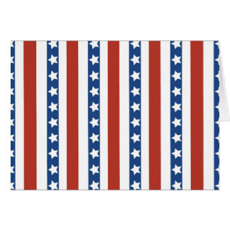 Patriotic Red White Blue Stars and Stripes Freedom Card