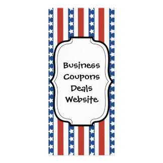 Patriotic Red White Blue Stars and Stripes Freedom Personalized Rack Card