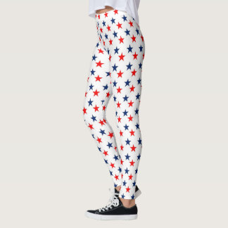 Patriotic Red, White & Blue Stars Leggings