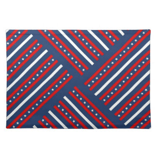 patriotic red white blue stars pattern placemat