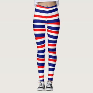 Patriotic Red, White & Blue Striped Leggings