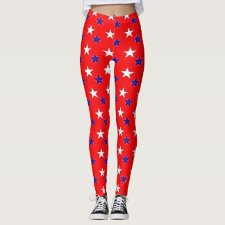 Patriotic red with stars leggings
