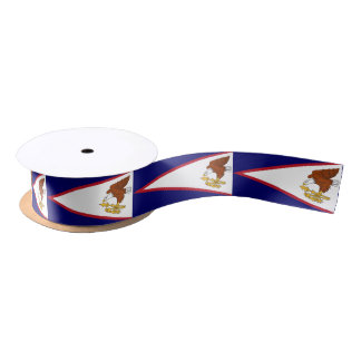Patriotic Ribbon with Flag of American Samoa Satin Ribbon