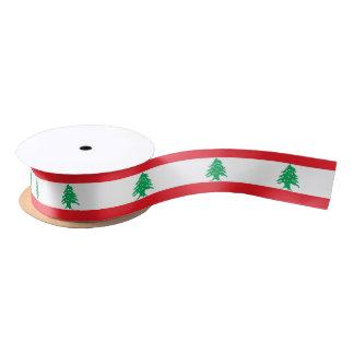 Patriotic Ribbon with Flag of Lebanon Satin Ribbon