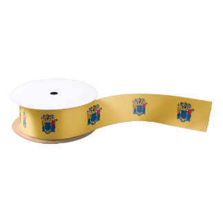 Patriotic Ribbon with Flag of New Jersey, USA Satin Ribbon