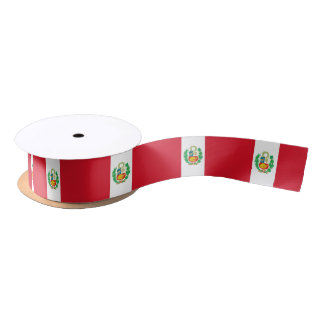 Patriotic Ribbon with Flag of Peru Satin Ribbon