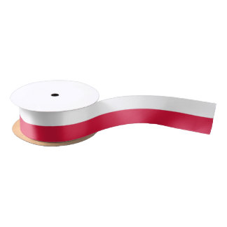 Patriotic Ribbon with Flag of Poland Satin Ribbon