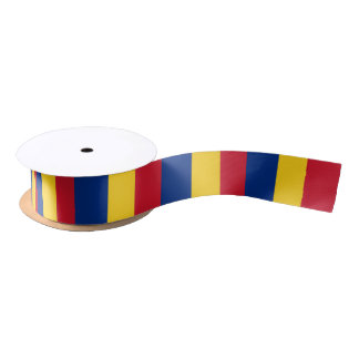 Patriotic Ribbon with Flag of Romania Satin Ribbon