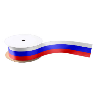 Patriotic Ribbon with Flag of Russia Satin Ribbon