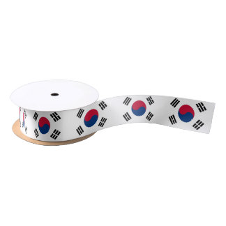 Patriotic Ribbon with Flag of South Korea Satin Ribbon