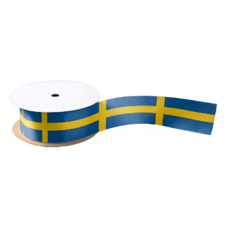 Patriotic Ribbon with Flag of Sweden Satin Ribbon
