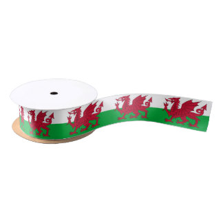 Patriotic Ribbon with Flag of Wales Satin Ribbon
