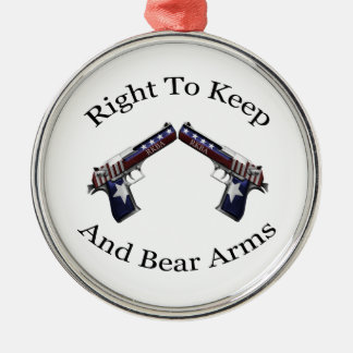 Patriotic Right To Keep And Bear Arms Silver-Colored Round Ornament