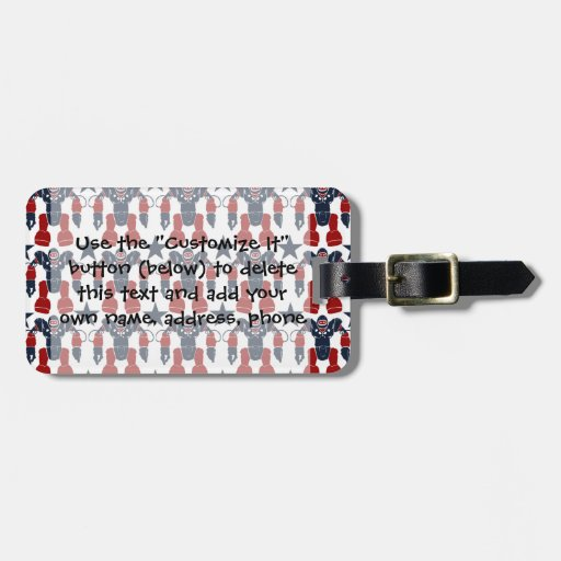 Patriotic Robot Soldier Red White Blue Stars USA Bag Tags