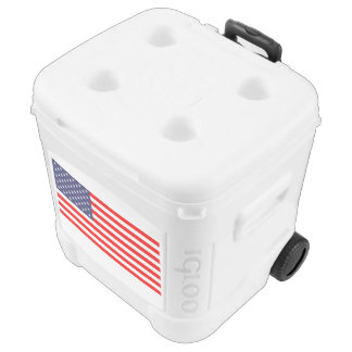 Patriotic roller cooler box with American flag