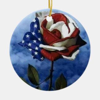 Patriotic Rose Ceramic Ornament