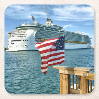 Patriotic Sailaway Cruise Ship and Flag Square Paper Coaster