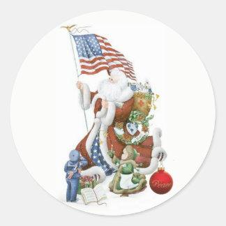 Patriotic Santa Flag Holiday Sticker