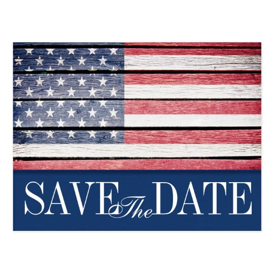 Patriotic Save the Date Postcard Invitation