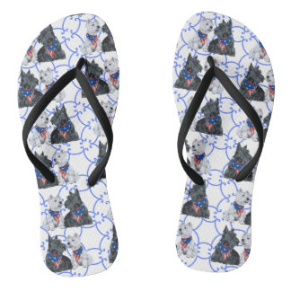 Patriotic Scottie and Westie Flip Flops