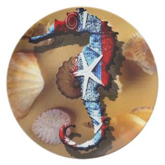 Patriotic  seahorse and seashell design plate