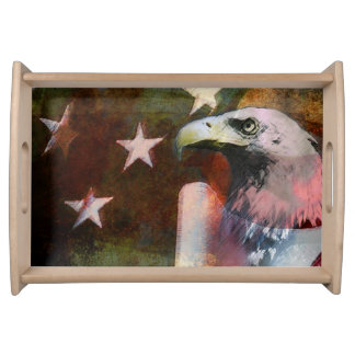 Patriotic Serving Tray U.S Flag and Bald Eagle